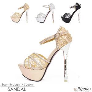 サンダル キャバ 靴 14cmヒール キャバクラ キャバ嬢 ハイヒール シースルー×スパンコールクロスサンダル|rippleplus-shop