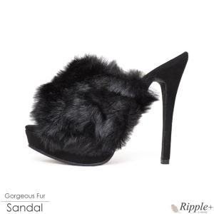 パンプス キャバ ミュール サンダル 靴 13.5cmヒール ファー キャバクラ ハイヒール 厚底 ピンヒール|rippleplus-shop