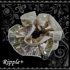 スパンコール シュシュ フリル ヘアアクセサリー ヘアアクセ ヘアゴム ゴールド ベージュ|rippleplus-shop