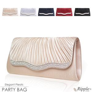 パーティーバッグ 結婚式 クラッチ 大きめ クラッチバッグ 安い エレガントプリーツ3wayパーティーバッグ|rippleplus-shop