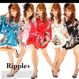 花魁着物ミニドレス キャバドレス ナイトドレス キャバ キャバクラ キャバ嬢 浴衣 セクシー 和柄 衣装 コスプレ コスチューム|rippleplus-shop