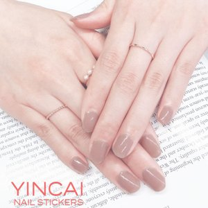 YINCAI ネイルシール N0060 ネイル マニキュア 貼るだけ 簡単 セルフネイル ネイルシート ワンカラー 単色 ピンク ヌーディネイル シンプル 2枚入り 送料無料|rirty