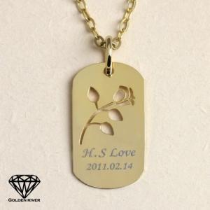K18 18金 ネームネックレス イニシャルネックレス 金色の薔薇 バラ ゴールドプレート 名前|risacrystal