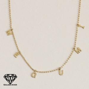 イニシャルネックレス ネームネックレス 揺れるアルファベット K18 18金ゴールド|risacrystal