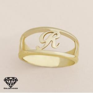 イニシャルリング アルファベット ペアリング K18 18金ゴールド 指輪|risacrystal