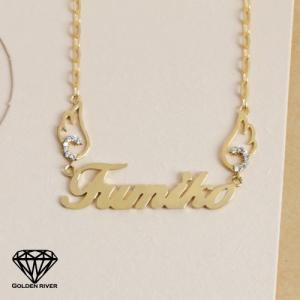 イニシャルネックレス ネームネックレス 天使の羽 特大サイズ 名前 14金 K14ゴールド|risacrystal