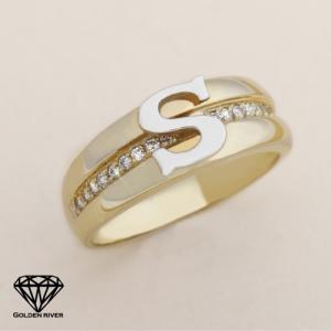 イニシャルリング 指輪 ペアリング アルファベット K18 18金ゴールドリング|risacrystal