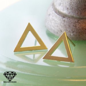 ピアス レディース K10 トライアングル 三角形 ゴールドピアス|risacrystal