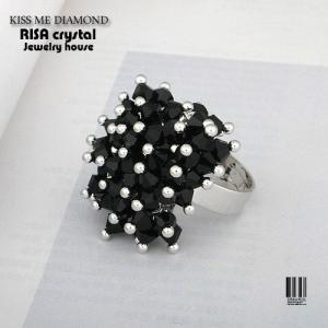ボリューム ブラック クリスタル リング フリーサイズ|risacrystal
