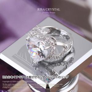 大胆デザイン ダブルハート ホワイト リング|risacrystal