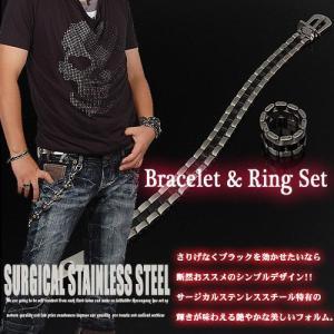 ブラックラインステンレススチールブレスレット&リングセット|risacrystal