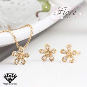 ダイヤモンド フラワーネックレス ピアス 3点セット K14 14金ゴールド|risacrystal