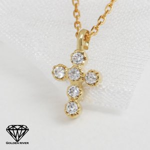 18金ネックレス 天然ダイヤモンド クロス ネックレス K18ゴールド K18YG|risacrystal