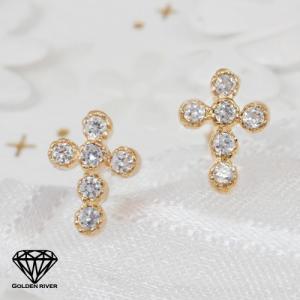 18金ピアス ダイヤモンド クロスピアス K18 両耳用 十字架ピアス|risacrystal