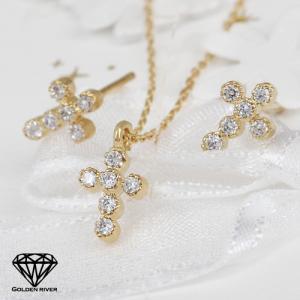 14金 K14セット ダイヤモンド クロ スネックレス ピアス 3点セット|risacrystal