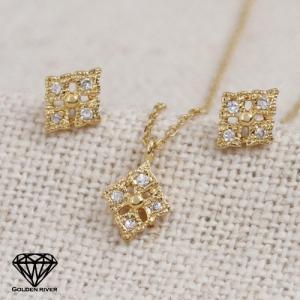 14金セット ダイヤモンド・ダイヤ ひし形 菱型 ネックレス&ピアス 3点セット K14|risacrystal