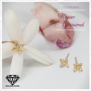 18金セット ダイヤモンド フラワー ネックレス ピアス シャープライン 3点セット K18|risacrystal