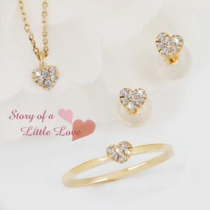 K18ゴールド 18金 プチラブリーハート 天然ダイヤモンド ネックレス ピアス リング 3点セット|risacrystal