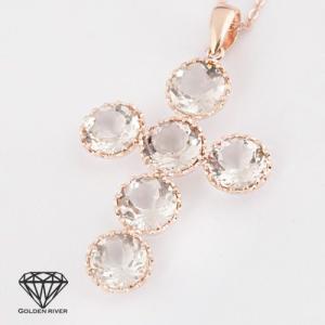 天然石 クロスネックレス 白水晶 ロッククリスタルクオーツ 14金 K14ピンクゴールド|risacrystal