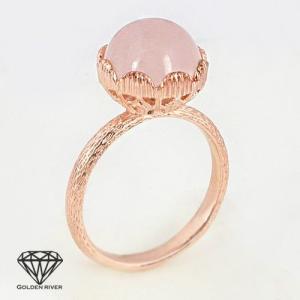 天然石 ピンクゴールド 14金 K14リング ピンクカルセドニー メノウ 瑪瑙 指輪|risacrystal