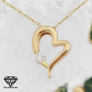 天然ダイヤモンド 0.1ct オープンハートネックレス K14ゴールド|risacrystal