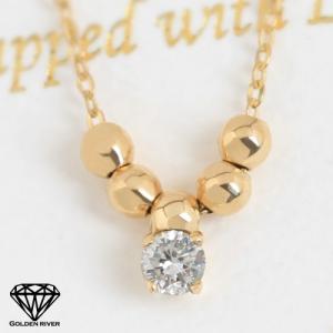 K18 18金 一粒ダイヤモンド ゴールドボール ゴールド ネックレス レディース|risacrystal