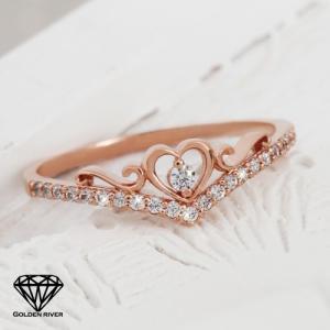 K18 指輪 プリンセス ティアラ ハート 王冠 18金ゴールドリング 重ね着け|risacrystal