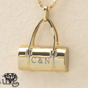 イニシャル ネームネックレス 二人のイニシャル バッグ BAG 14金ゴールド K14|risacrystal