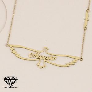 イニシャルネックレス ネームネックレス 名前 神聖イーグル 翼 14金 K14ゴールド|risacrystal