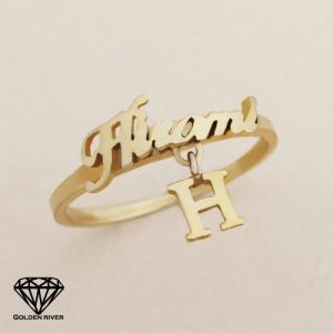ネームリング 名前 イニシャルリング 一文字アルファベットチャーム付 14金 K14 指輪|risacrystal