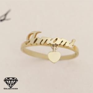 ネームリング 名前 イニシャ リング ハートチャーム付 14金 K14ゴールド 指輪|risacrystal