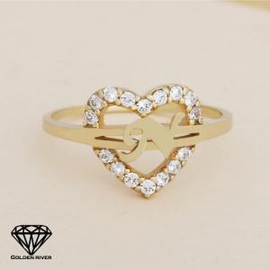 イニシャルリング 指輪 レディース アルファベット ハート 14金 K14ゴールド|risacrystal