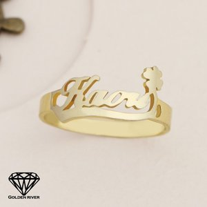 イニシャルリング 名前 ネームリング 四葉 クローバー K14 14金ゴールド 指輪|risacrystal