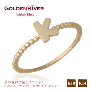 一文字アルファベット リング 指輪 イニシャル K18ゴールドリング 18金ゴールド|risacrystal