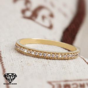 K14 14金 ゴールドリング ハーフエタニティリング 重ね着け 極細リング 指輪|risacrystal