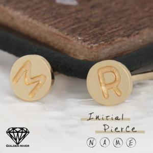 K18ゴールド イニシャルピアス アルファベット 18金ピアス|risacrystal