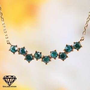 K18 18金 ローズカット グリーンダイヤモンドネックレス ラインシルエット ゴールド ネックレス|risacrystal