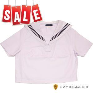 KR9018 紺3本線白えり白セーラートップス(半袖)155A〜170A|risastarlight