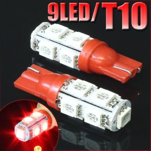 9連 SMD/LEDバルブ T10 レッド 赤 ウェッジ 2個セット 口金 スモール ポジション ストップ テール ライト ランプ  ナンバー ルーム インジケーター マップ|rise-corporation-jp