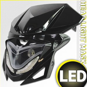 汎用 ストリートエッジLEDヘッドライト カウルマスク ブラック