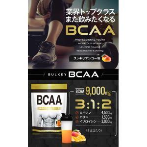BCAA 9000mg サプリメント マンゴー風味500g40食分 BULKEY  バルキー 幸せラ...