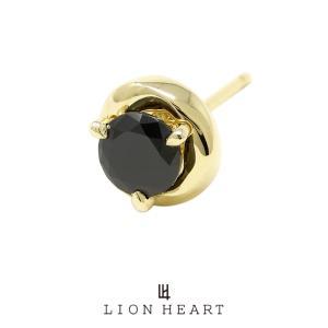 ライオンハート Petite Modern メビウス スタッドピアス/K10ゴールド(ブラック)01EA0313BK LION HEART 10ピアス 18金ポスト 2WAY 1点売り 片耳用 メンズ|rismtown-y