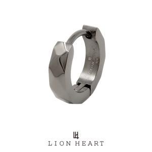 ライオンハート LH-1 WEB限定 カッティング フープピアス ブラック 03EA0015BK LION HEART ステンレス ピアス 1点売り 片耳用 メンズ [LH]|rismtown-y