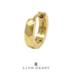 ライオンハート LH-1 WEB限定 カッティング フープピアス ゴールド 03EA0015YG LION HEART ステンレス ピアス 1点売り 片耳用 メンズ [LH]|rismtown-y