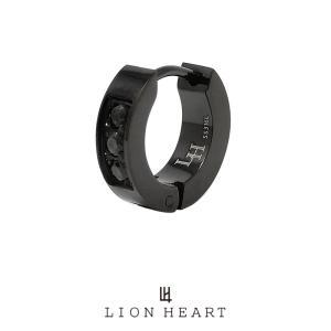 ライオンハート LH-1 フープピアス 3ストーン サージカルステンレス(ブラック) LHMP004N LION HEART 1点売り 片耳用 シンプル 誕生日 プレゼント メンズ|rismtown-y