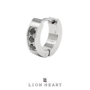 ライオンハート LH-1 フープピアス 3ストーン サージカルステンレス(シルバー) LHMP004NS LION HEART 1点売り 片耳用 シンプル 誕生日 プレゼント メンズ|rismtown-y