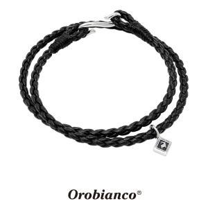 オロビアンコ レザー2連ブレスレット ブラック OREB036BKS シルバー925  Orobianco Bracelet 革紐 ブランド メンズ レディース プレゼント 送料無料 rismtown-y