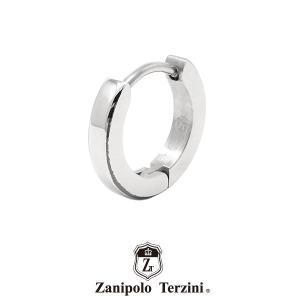 ザニポロタルツィーニ フープピアス ステンレス ZTE3608SUS/BK (カラー:シルバーxブラック) Zanipolo Terzini メンズ 金属アレルギー対応 1点売り 片耳用 [ZT]|rismtown-y