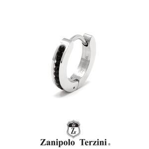 ザニポロタルツィーニ フープピアス ステンレス ブラックキュービックジルコニア ZTE3616  Zanipolo Terzini サージカルステンレス 1点売り 片耳用 [ZT]|rismtown-y