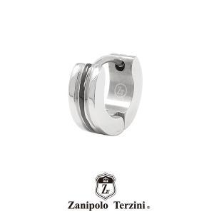 ザニポロタルツィーニ フープピアス ステンレス ZTE3623SUS/BK(カラー:シルバーxブラック) Zanipolo Terzini メンズ 金属アレルギー対応 1点売り 片耳用 [ZT]|rismtown-y